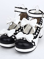 cheap -Lolita Shoes Sweet Lolita Lolita High Heel Shoes Bowknot 4.5 CM Black For PU Leather/Polyurethane Leather