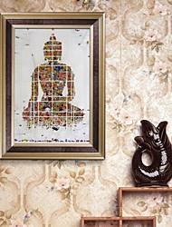 economico -Fantasia Tele con cornice / Set con cornice Wall Art,PVC Oro Senza passepartout con cornice Wall Art