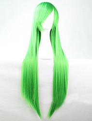 Недорогие -Парики из искусственных волос Жен. Прямой Зеленый Ассиметричная стрижка Искусственные волосы 28 дюймовый Природные волосы Зеленый Парик Длинные Без шапочки-основы Зеленый
