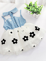 cheap -Girl's Floral Patchwork Dress, Cotton Summer Sleeveless Floral White Pink