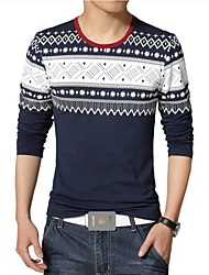 お買い得  -男性用 スポーツ - プリント プラスサイズ Tシャツ, ボヘミアン コットン