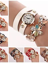 Mulheres Relógio de Moda Bracele Relógio Quartzo Couro Banda Brilhante FlorPreta Branco Azul Vermelho Laranja Verde Rosa Roxa Azul