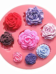 cheap -Eight Different Pattern Size Roses Flower Chocolate Cake Molds