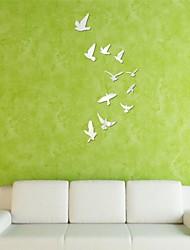 Недорогие -зеркало наклейки наклейки для стен, DIY 11pcs птицы зеркало акриловые стены стикеры