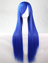 cheap -Synthetic Wig Straight Asymmetrical Haircut Synthetic Hair 28 inch Natural Hairline Blue Wig Women's Long Capless Light Blue