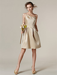cheap -A-Line One Shoulder Knee Length Satin Bridesmaid Dress with Side Draping / Pocket by LAN TING BRIDE®
