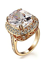 cheap -Women's Crystal Crystal Gold Plated Imitation Diamond Statement Ring - Luxury Golden Ring For Wedding Party Daily Casual