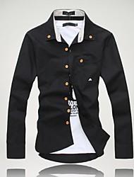 お買い得  -男性用 プラスサイズ シャツ ソリッド