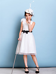 A-Line V-neck Knee Length Tulle Junior Bridesmaid Dress with Bow(s) Flower(s) Sash / Ribbon Criss Cross by LAN TING BRIDE®