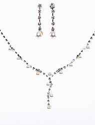 cheap -Ladies'/Women's Alloy Wedding/Party Jewelry Set With Pearl/Rhinestone