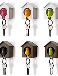 cheap -Bird House Key Chain Storage Rack Wall Nest Hook Whistle Key Ring Organizer Holder Random Color