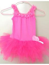 cheap -Newest in stock Girls Kids Hot Pink Pearl Flower Leotard Party skirt Ballet Tutu Skate Dancewear SZ2-7Y