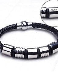 Недорогие -Персонализированные ювелирные изделия браслеты - Нержавеющая сталь/Кожа - серебро/черный -