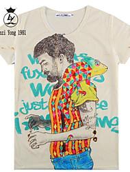 baratos -Homens Camiseta Estampado, Multi-Côr