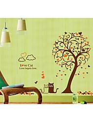 cheap -Wall Stickers Wall Decals, Style Black And White Cat Cartoon Tree PVC Wall Stickers