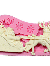 cheap -Silicone Mold DIY 3D Christmas Santa Claus Reindeer With Sled Fondant Cake Decorating Tools Chocolate Mold SM-242
