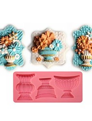 Classic Flower Vase Shaped  Fondant Cake Chocolate Silicone Mold,Cupcake Decoration Tools,L12.8cm*W5.9cm*H1.2cm
