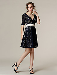 cheap -A-Line V-neck Knee Length Lace Bridesmaid Dress with Sash / Ribbon by LAN TING BRIDE®