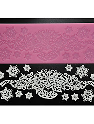 cheap -FOUR-C Sugar Craft Supplies Silicone Lace Pad Decoration Mat for Baking,Silicone Mat Fondant Cake Tools Color Pink