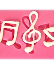 abordables -note de musique en forme de gâteau fondant moule en silicone de chocolat, petit gâteau des outils de décoration, l6cm * * w4.3cm h0.7cm