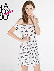 haoduoyi® Women's Bow Print Boat Neck Preppy Style Dress