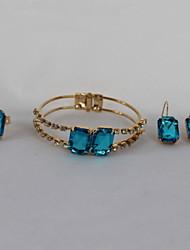 abordables -Femme Ensemble de bijoux - Plaqué or Luxe, Mode Comprendre Bleu Pour Soirée / Anniversaire / Fiançailles / Anneaux / Boucles d'oreille / Bracelet / Strass