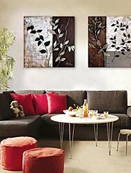 E-Home® Leinwand Kunstblattmuster dekorative Malerei Satz 2