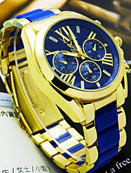 baratos -Homens Relógio de Pulso Quartzo Lega Banda Branco Azul Rosa Bege