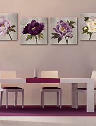 e-Home® allungato su tela di fiori pittura decorativa set di 4