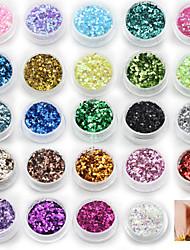 economico -Kit di nail art per decorazioni di paillettes a 24 colori
