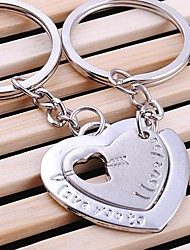 Alloy Silver Plated Heart in Heart Keychain Key Ring for Lover Valentine's Day(One Pair)