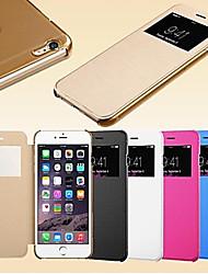 Недорогие -Для Кейс для iPhone 6 / Кейс для iPhone 6 Plus с окошком / Флип Кейс для Чехол Кейс для Один цвет Твердый Искусственная кожаiPhone 6s