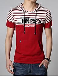 T-shirt Uomo Casual A strisce Cotone Manica corta-Rosso / Bianco / Grigio