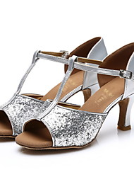 cheap -Women's Latin Shoes / Salsa Shoes / Samba Shoes Paillette Sandal Sequin / Buckle Customized Heel Customizable Dance Shoes Silver / Gold