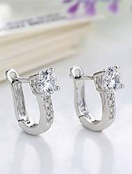 Boucle - en Diamant/Plaqué Argent - Soirée/Tous les jours - Boucles d'oreille gitane