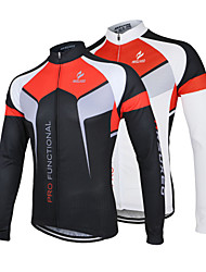 cheap -Arsuxeo Men's Long Sleeves Cycling Jersey - White Black Bike Jersey Jacket, Quick Dry, Anatomic Design, Breathable