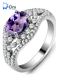 Midi Rings AAA Cubic Zirconia Sterling Silver Zircon Cubic Zirconia Fashion Elegant Silver Lavender Jewelry Party 1set