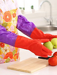50cm Long Sleeves Rubber Latex Gloves Kitchen Wash Dishes Cleaning Waterproof