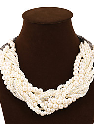 cheap -Women's Fashion Statement Jewelry Multi Layer European Statement Necklace Imitation Pearl Alloy Statement Necklace , Party / Evening