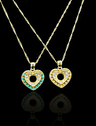 18K Real Gold Plated Pearl/Blue Heart Pendant Necklace