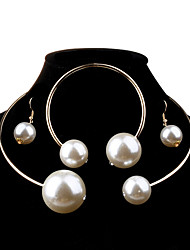 cheap -Women's Jewelry Set - Pearl, Imitation Pearl Ball Fashion, Elegant, Bridal Include Silver / Golden For Wedding / Party / Birthday / Earrings / Necklace / Oversized