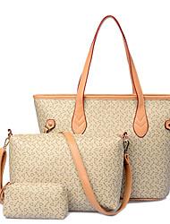 Donna Sacchetti Per tutte le stagioni PU (Poliuretano) Borsa a tracolla Tote sacchetto regola per Shopping Casual Formale Beige Marrone