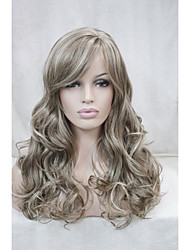 "Light Brown Mix Blonde Curly 22"" Long Side Skin Part Top Women's Synthetic Wigs"