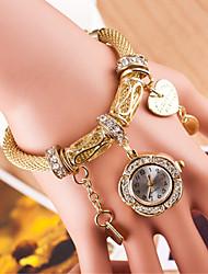 baratos -Mulheres Relógio de Pulso Fashion PU Banda Bracelete Relógio / Casual Preta