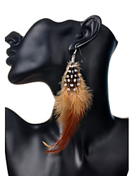 Drop Earrings Feather Bohemian Feather Brown Red Blue Dark Red Light Blue Jewelry Party Daily Casual 2pcs