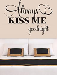 Недорогие -настенные наклейки наклейки для стен, стиль всегда поцелуй меня спокойной ночи английские слова& цитирует наклейки стены PVC