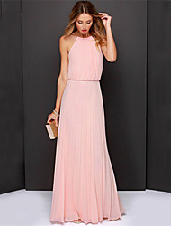 Women's Halter Solid Color Pleated Maxi Chiffon Dress