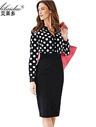women's V-neck Long sleeve polka-dot sllim pencil skirt(Polyester)