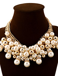 cheap -Women's Layered Statement Necklace  -  Pearl Ball Luxury, European, Fashion Golden Necklace For Party, Special Occasion, Birthday