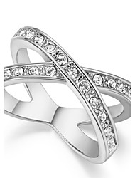 T&C Women's Band Designer X Cross Ring Band Micro Cubic Zircon Diamond Pave White Gold Plated Jewelry
